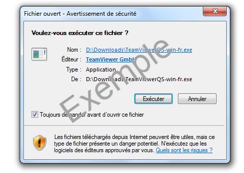 Avertissement de sécurité de Windows